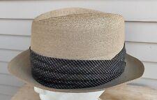 Vtg 50s Genuine Milan FEDORA Straw HAT sz 7 1/4 Imported