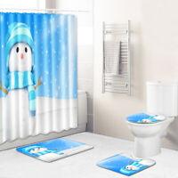 Christmas Snowman Shower Curtain Bathroom Rug Set Bath Mat Soft Toilet Lid Cover