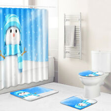 Christmas Snowman Shower Curtain Bathroom Rug Set Bath Mat Soft Toilet Lid Cover