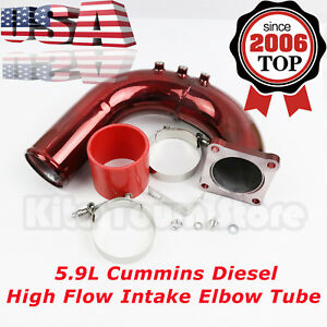 Red High Flow Intake Elbow Tube For 03-07 Dodge Ram 5.9L Cummins Diesel USA