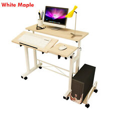 White Maple Height Adjustable Home Office Desk Computer Standing PC Table 12KG