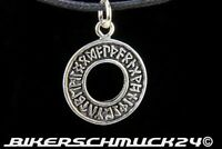 Runen Anhänger in Kreis-Form 925 Silber mit Band Wikingerschmuck Herren Geschenk