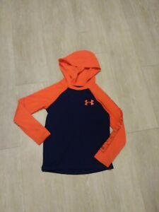 Under Armour boys YXS XS 6 - 7 navy blue / orange themal hoodie top