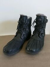Ugg Cecile Black Leather Sheepskin Waterproof Duck Boots Size 12