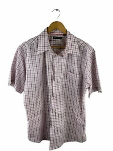 Pierre Cardin Button Up Shirt Mens Size L Pink Check Short Sleeve Pocket Collar
