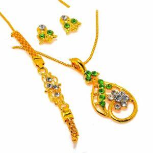 Peridot, White Topaz Gemstone Designer Golden 925 Silver Set