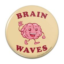 Brain Waves Waving Funny Humor Pinback Button Pin