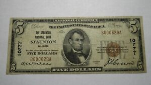 $5 1929 Staunton Illinois IL National Currency Bank Note Bill! Ch. #10777 FINE!