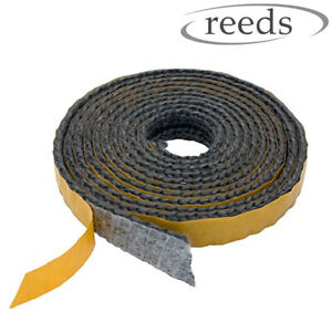 Black Flat Stove Rope Self Adhesive Glass Seal Stove Fire Rope 10mm Wide x 2mm