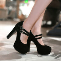 Womens Ankle Straps High Heels Platform Faux Suede Party Pumps Shoes UK 1--11