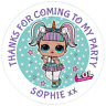 48 Personalised  Party Bag Stickers LOL UNICORN DOLL Sweet Cone Labels 40mm