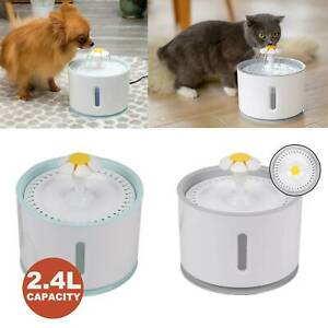 2.4L Electric Cat Dog Automatic Water Fountain Dispenser Pet Drinking Bowl Light