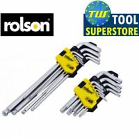 Rolson Twin Pack 18pc Ball Ended Long Hex Allen Key & Star Torx Driver Set