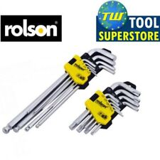 Rolson 18pc Ball Ended Hex Allen Key Long Series and Star Driver Set 40389