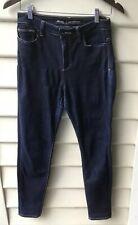 LEE Riders Size 12 M High Rise Vegas Blue Denim Jeans Skinny Leg Dark Wash EUC