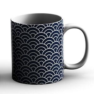 Japanese Traditional Geometric Pattern Design Seigaiha Waves - Printed Mug