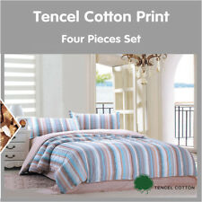 Top Quality Tencel Cotton 4pc Bed Sheet Set Bedding Queen Size Printed Pattern