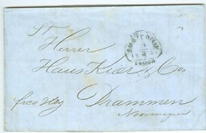 NETHERLANDS/NORWAY: Cover from Amsterdam to Drammen 1857.