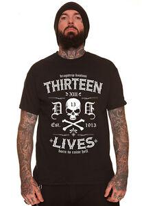 Dragstrip Clothing 13 Lives Born To Raise Hell Biker Hot Rod Tattoo T`Shirt
