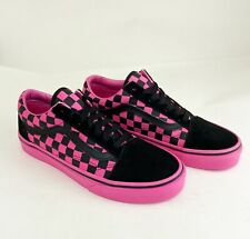Vans Pink and Black Checkerboard Old Skool Skate Shoes
