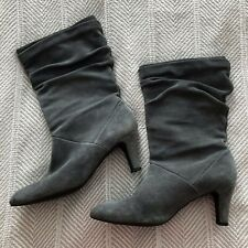 Alex + Marie 10M Grey Gray Suede Leather Boots Heeled Slouchy Mid Calf EUC