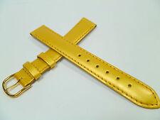 15 mm GOLD / GELB UHRENARMBAND DORNSCHLIEßE ARMBAND LACKLEDER UHRENBAND