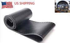 Universal Car Steering Wheel Cover Genuine Leather Stitch On Wrap Medium Black