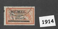 #1914  4 Mark  Used stamp 1921 Memel / Lithuania / Prussia / Third Reich Germany