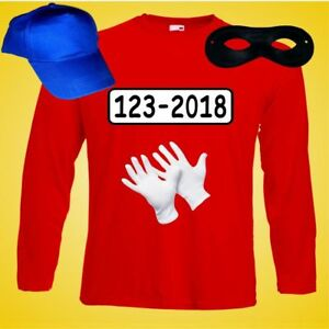 Low Budget Kostüm für Panzerknacker Fans Langarm T-Shirt Fasching Karneval