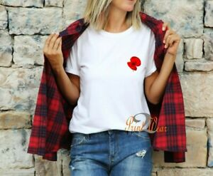 Poppy - Ladies T Shirt Fashion Crew neck Printed pocket Flower Top 100% Cotton