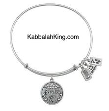 Wind & Fire Sister In Law Charm Silver Expandable Bangle Bracelet Made In USA