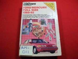 1968-1992 FORD & MERCURY FULL-SIZE MODELS - REPAIR, MAINTENANCE & TUNE-UP MANUAL