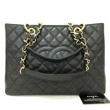 CHANEL Quilted Matelasse Caviar Skin Chain Grand Shopping Tote Bag /u252