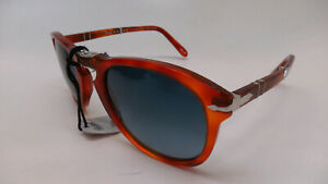 Persol PO 714-SM 96/S3 Steve McQueen Havana Folding Blue Polaried Sunglasses