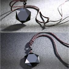 Men Blessing Jewelry Black Obsidian Pendant Necklace Hexagram Shape Amulet