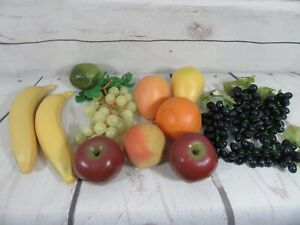 Vintage Decorative Fruit Wax Plastic Grapes Apples Pear Banana 14 Pieces