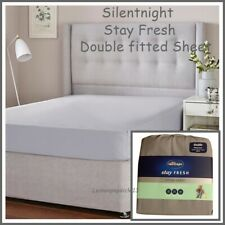 2 Pillow Cases White Double or King Silentnight Cotton Rich Fitted Bed Sheet