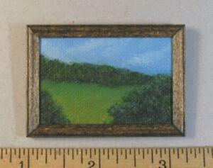 "1:12 scale Miniature Painting ""Beautiful Day"" OOAK Artist made LesBonArts"