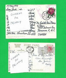 CHINA, HONG KONG 1958 & 1973 POSTCARDS mailed to CANADA & USA
