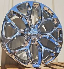 "22"" Chrome Chevy Snowflake Sty Wheels CK156 GMC Sierra 1500 2015 Silverado Rims"