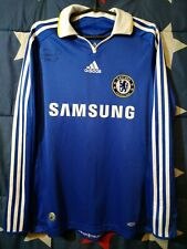 Size S Chelsea 2008-2009 Signed Home Football Long Sleeve Shirt Jersey