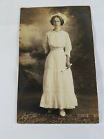 Vintage Real Photo Post Card Elegant Lady Nurse? Graduation? Arturo 1910's?