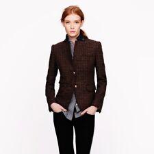 J CREW Brown Multicolored Wool Schoolboy Blazer in Beaded Neck Tweed SZ 0, XS
