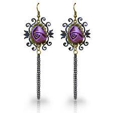 Crown rose Queen Style Gothic Goth Punk Lace Burlesque Victorian Drop Earring