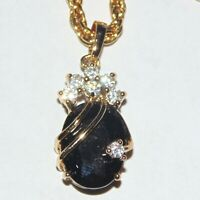 Signed Kunic black faceted stone CZ crystal gold tone drop pendant necklace