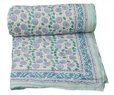 100%Cotton Indian Handmade Twin Size Reversible Winter Quilt Throw Blanket Razai