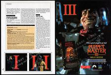 PUPPET MASTER III: Toulon's Revenge__Orig. 1991 Trade print AD promo__FULL MOON
