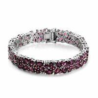 """925 Sterling Silver Platinum Over Rhodolite Garnet Bracelet Size 7.25"""" Ct 1.8"""