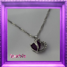 Beautiful Girls 10k White Gold Filled Purple heart Necklace Pendant Crystal
