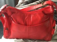 Luca Bocelli Red Leather Double Compartment Shoulder Bag